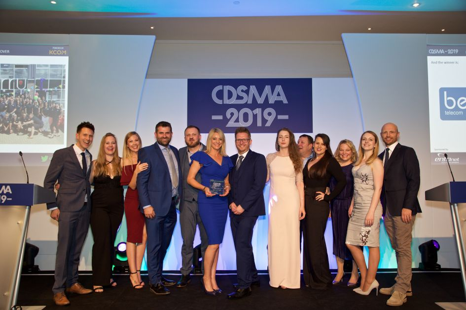 The Callcloud team collecting their award at the Comms Dealer Sales and Marketing Awards 2019